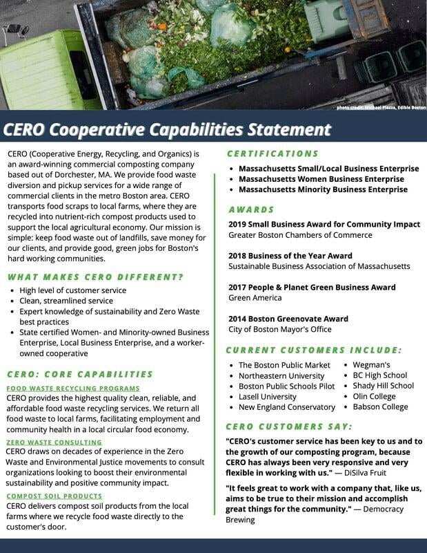 CERO COOPERATIVE CAPABILITIES STATEMENT 2020